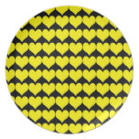 Pattern: Black Background with Yellow Hearts Dinner Plates