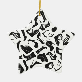 Pattern black Women's shoes Ceramic Ornament