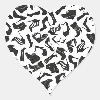 Pattern black Women's shoes Heart Sticker