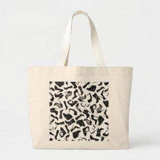 Pattern black Women's shoes Large Tote Bag