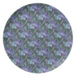 Pattern, Blue and Lavender Curving Textures Party Plate