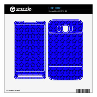 Pattern Blue Background with Black Stars Decal For The HTC HD2