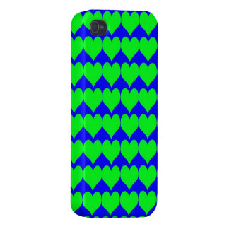 Pattern: Blue Background with Green Hearts iPhone 4 Cover