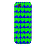 Pattern: Blue Background with Green Hearts Cases For iPhone 4