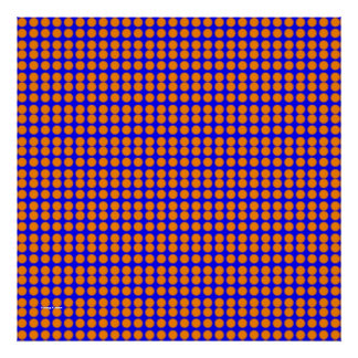 Pattern: Blue Background with Orange Circles Poster