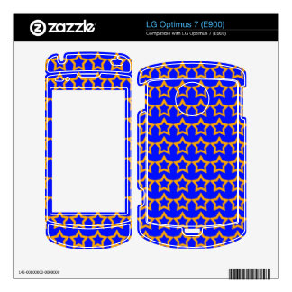 Pattern Blue Background with Orange Stars LG Optimus 7 Decal
