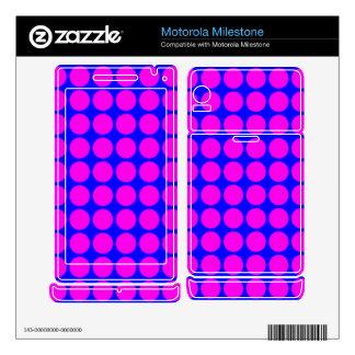 Pattern: Blue Background with Pink Circles Motorola Milestone Skin