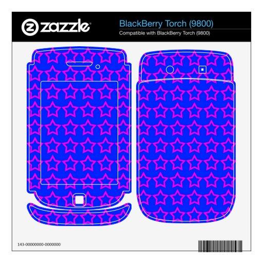 Pattern: Blue Background with Pink Stars BlackBerry Torch Decals