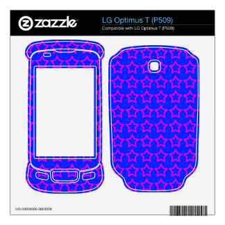 Pattern Blue Background with Pink Stars Decal For LG Optimus T
