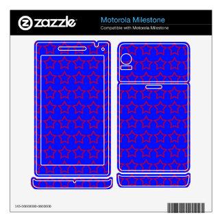 Pattern: Blue Background with Red Stars Motorola Milestone Skins