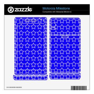 Pattern: Blue Background with White Stars Motorola Milestone Decal