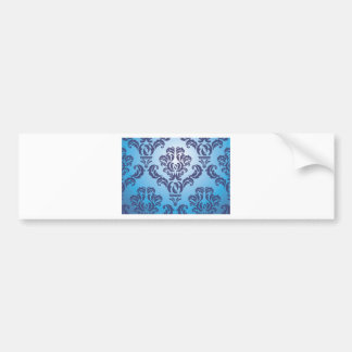 Pattern blue floral car bumper sticker