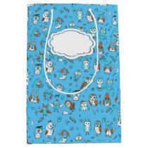 Pattern blue owls medium gift bag