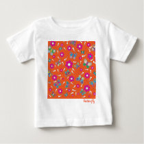 pattern butterfly orange baby T-Shirt