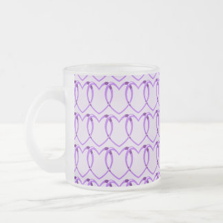 Pattern Chain Heart Purple Frosted Glass Coffee Mug