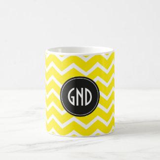 Pattern Chevron Yellow Monogram Coffee Mug