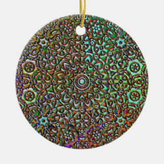 pattern collage abstract art Double-Sided ceramic round christmas ornament