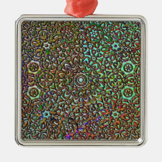 pattern collage abstract art square metal christmas ornament
