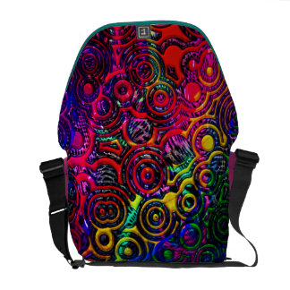 pattern collage abstract metallic rainbow messenger bag