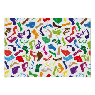 Pattern colorful Women's shoes Poster