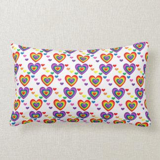 Pattern colourful hearts Lumbar Cushion 33 x 53 cm