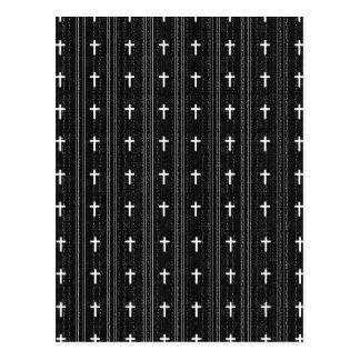 pattern (crosses / black and white) postcard