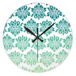 Pattern Damask Teal Green Wall Clocks