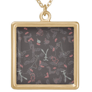 pattern displaying baby animals 1 personalized necklace