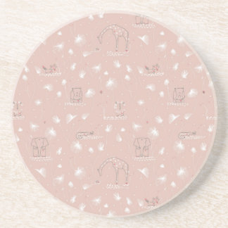 pattern displaying cute baby jungle animals beverage coasters