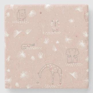 pattern displaying cute baby jungle animals stone beverage coaster