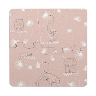 pattern displaying cute baby jungle animals puzzle coaster