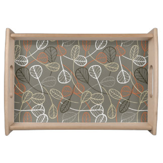 Pattern displaying leaves service trays