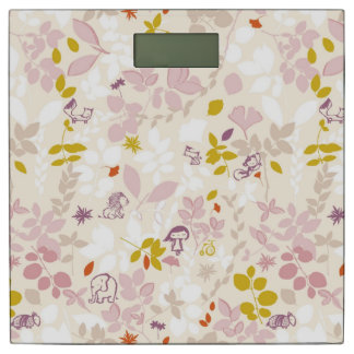 pattern displaying whimsical animals bathroom scale