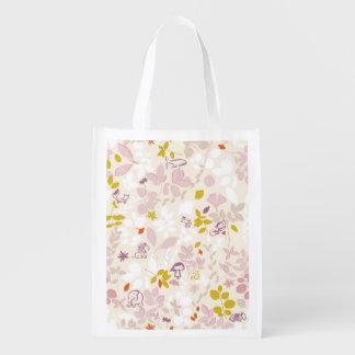 pattern displaying whimsical animals reusable grocery bag