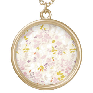 pattern displaying whimsical animals round pendant necklace