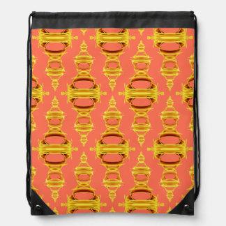 Pattern Dividers 03 closeup Gold and Salmon Drawstring Bag