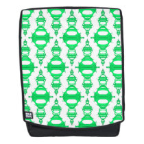 Pattern Dividers 03 closeup Green Custom White Backpack