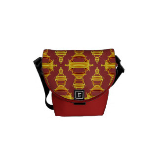 Pattern Dividers 03 Golden Brown over Barn Red Messenger Bag