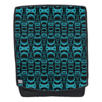 Pattern Dividers 07 closeup Teal over Black Backpack