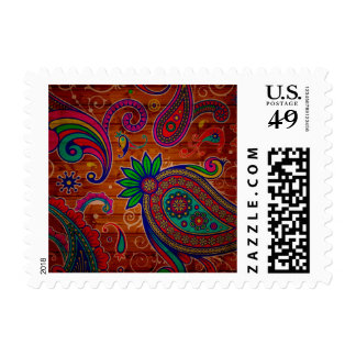 Pattern floral Colorful Wood Texture Background Postage Stamps
