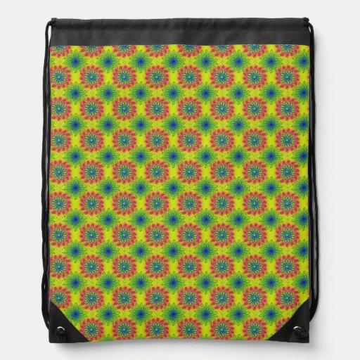 Pattern_Flower #05 Drawstring Backpacks
