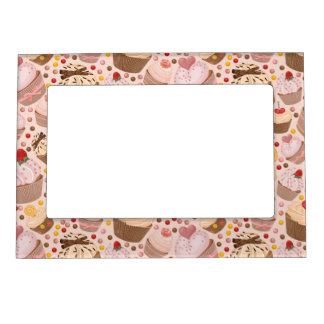 Pattern from celebratory cupcakes magnetic picture frame