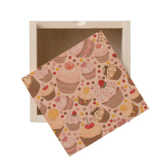 Pattern from celebratory cupcakes wooden keepsake box