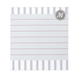 Pattern Gray with Monogram Business lines Notepad