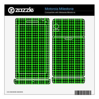 Pattern: Green Background with Black Circles Motorola Milestone Decal