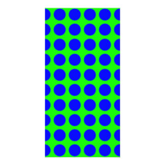 Pattern: Green Background with Blue Circles Card