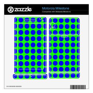 Pattern: Green Background with Blue Circles Motorola Milestone Decal
