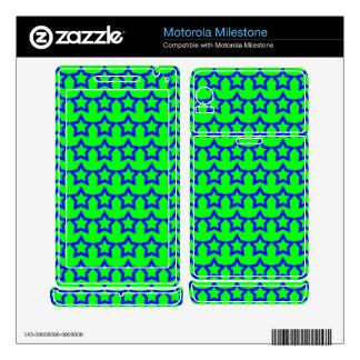 Pattern: Green Background with Blue Stars Motorola Milestone Decal