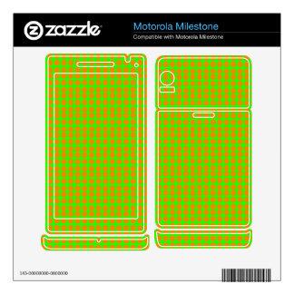 Pattern: Green Background with Orange Circles Motorola Milestone Skin