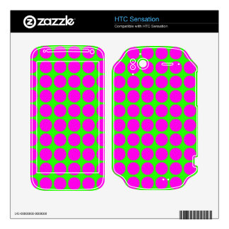 Pattern: Green Background with Pink Circles Decals For HTC Sensation